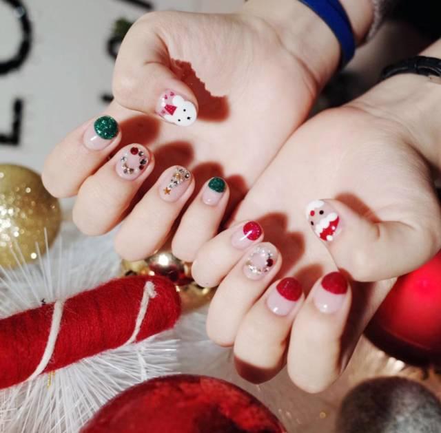 圣诞甲合集 简约风or华丽风走起! 美甲知识 南京超妍美容化妆美甲学校